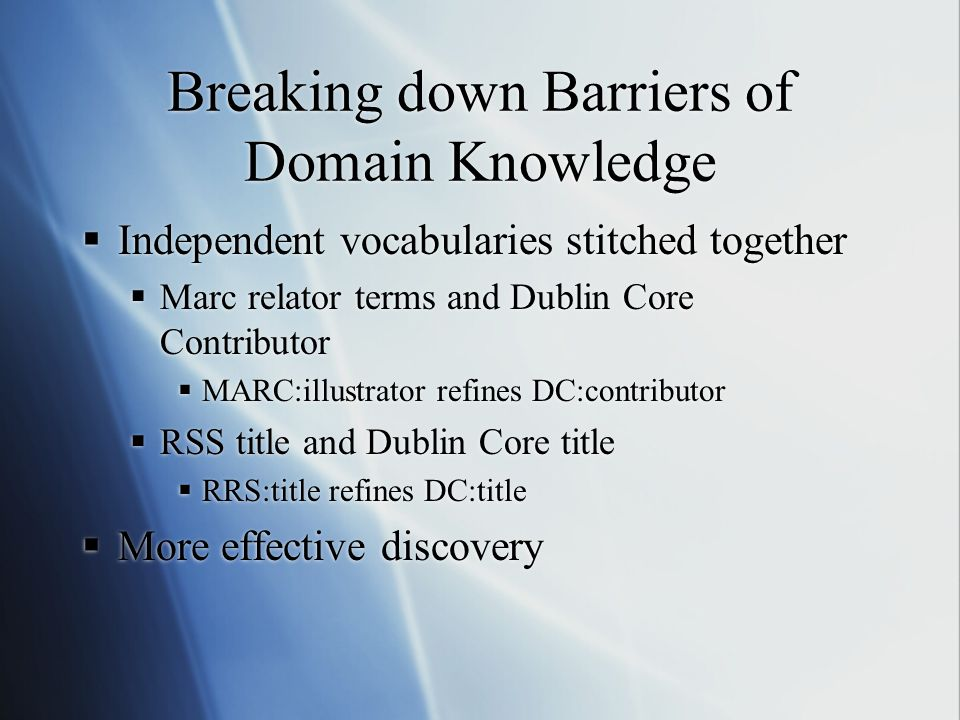 Breaking down Barriers of Domain Knowledge  Independent vocabularies stitched together  Marc relator terms and Dublin Core Contributor  MARC:illustrator refines DC:contributor  RSS title and Dublin Core title  RRS:title refines DC:title  More effective discovery  Independent vocabularies stitched together  Marc relator terms and Dublin Core Contributor  MARC:illustrator refines DC:contributor  RSS title and Dublin Core title  RRS:title refines DC:title  More effective discovery
