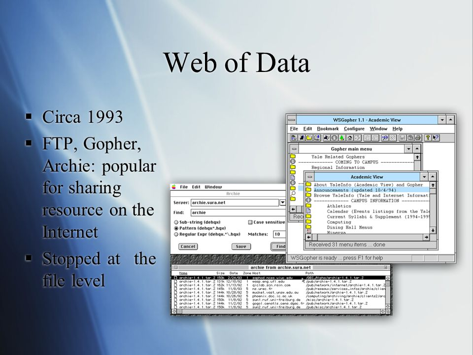 Web of Data  Circa 1993  FTP, Gopher, Archie: popular for sharing resource on the Internet  Stopped at the file level  Circa 1993  FTP, Gopher, Archie: popular for sharing resource on the Internet  Stopped at the file level