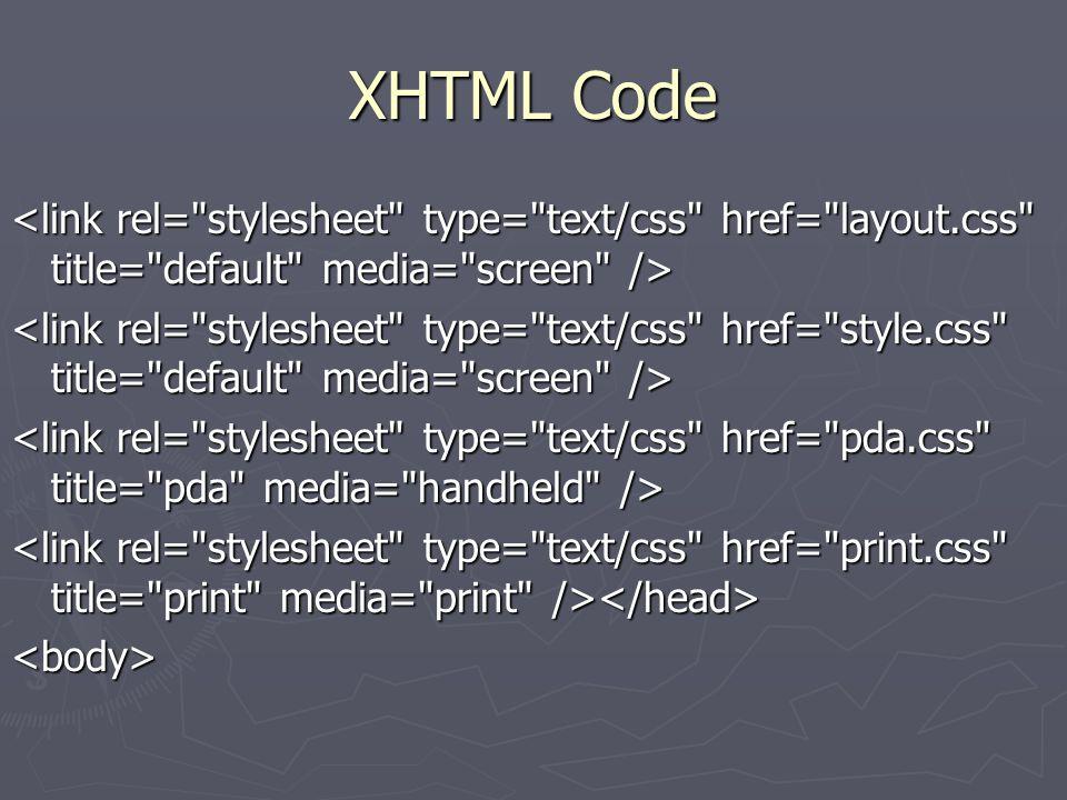 XHTML Code <body>