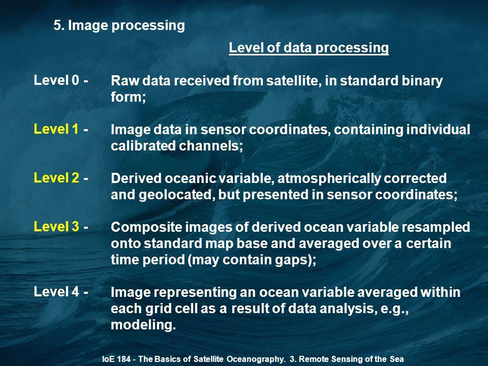 5. Image processing IoE 184 - The Basics of Satellite Oceanography. 3. Remote Sensing of the Sea Level of data processing Level 0 - Level 1 - Level 2