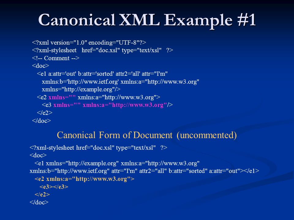 Canonical XML Example #1 <e1 a:attr='out' b:attr='sorted' attr2='all' attr=