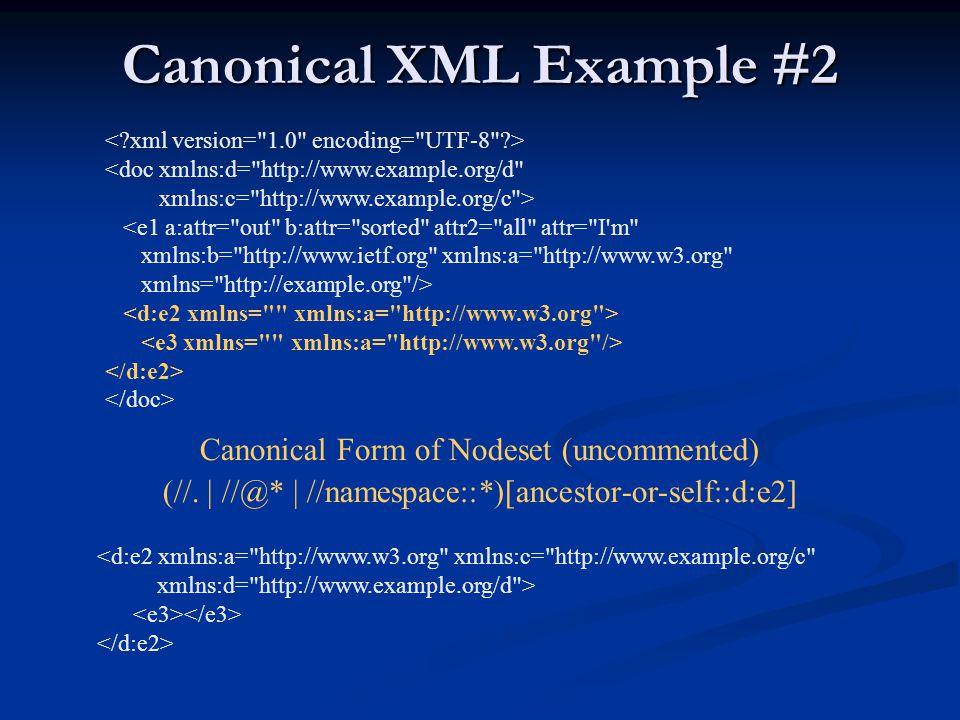 Canonical XML Example #2 <doc xmlns:d=