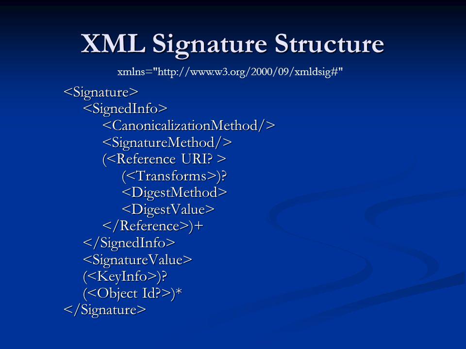 XML Signature Structure <Signature> ( ( ( )? ( )? )+ )+ ( )? ( )? ( )* ( )*</Signature> xmlns=