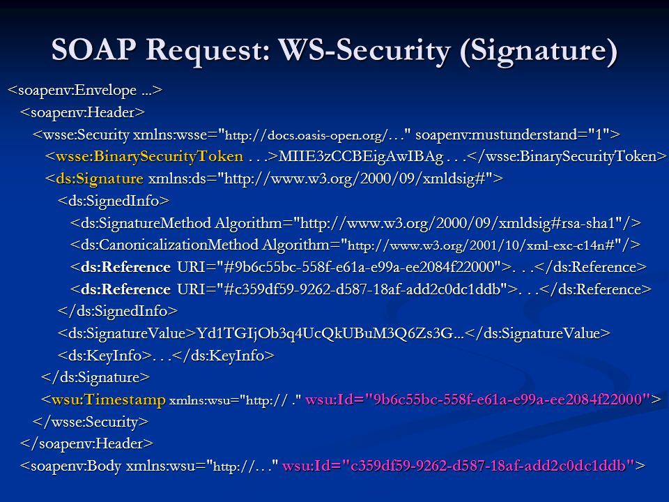 SOAP Request: WS-Security (Signature) MIIE3zCCBEigAwIBAg... MIIE3zCCBEigAwIBAg......... Yd1TGIjOb3q4UcQkUBuM3Q6Zs3G... Yd1TGIjOb3q4UcQkUBuM3Q6Zs3G....