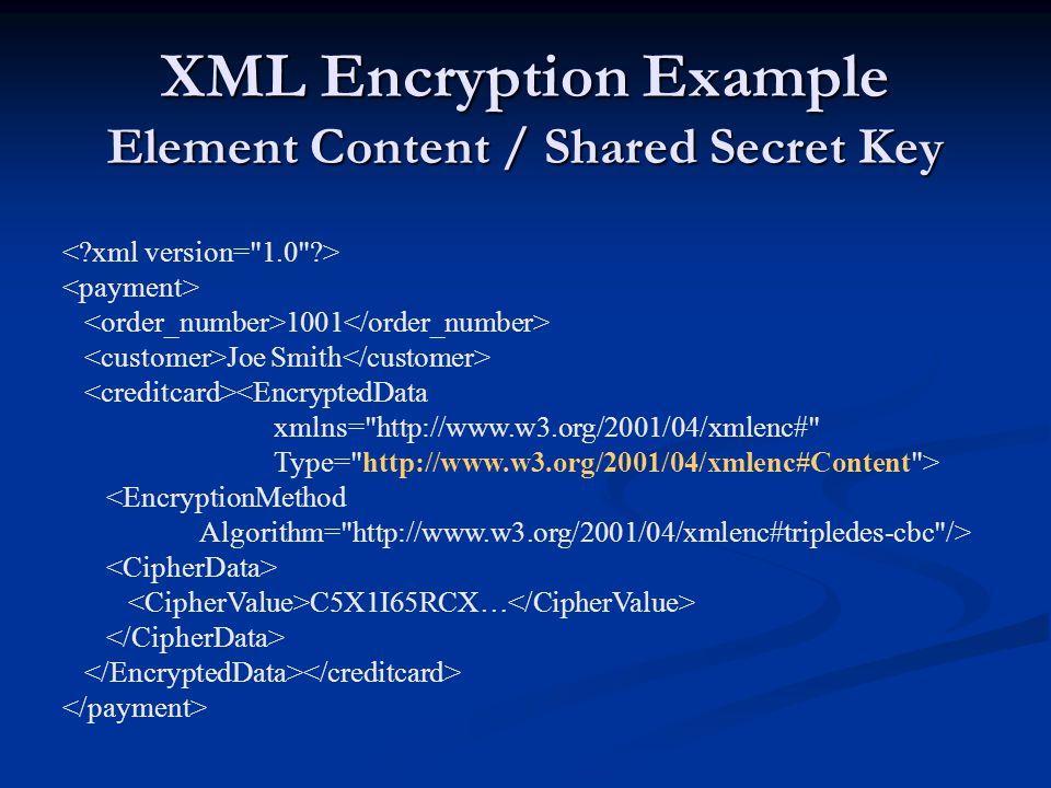 XML Encryption Example Element Content / Shared Secret Key 1001 Joe Smith <EncryptedData xmlns=