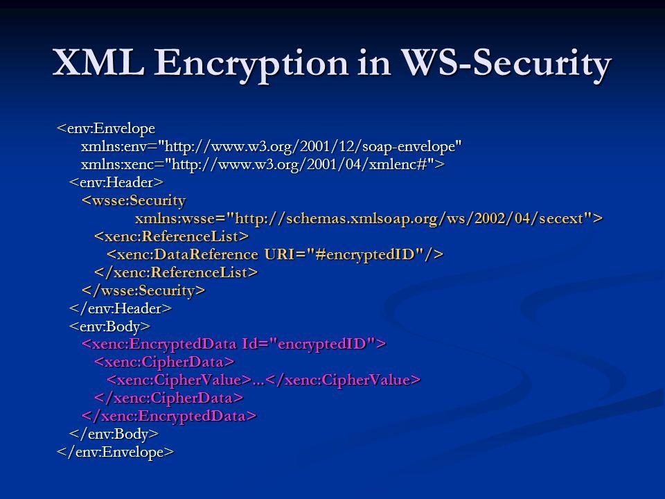 XML Encryption in WS-Security <env:Envelope xmlns:env=