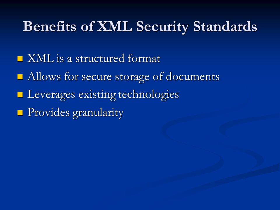 XML Canonicalization A standard serialization of an XML document or XPath node set <data c= 3 a= 1 b= 2 >