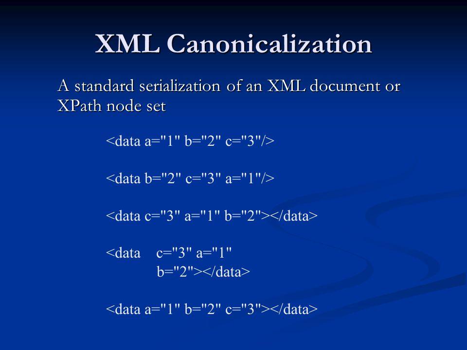 XML Canonicalization A standard serialization of an XML document or XPath node set <data c=