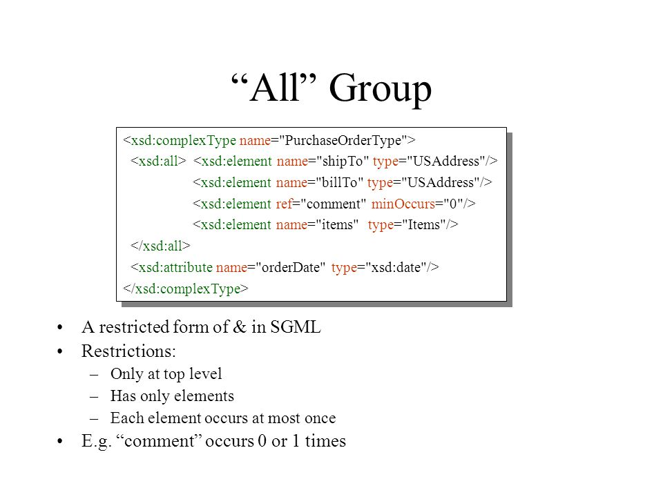 """All"" Group A restricted form of & in SGML Restrictions: –Only at top level –Has only elements –Each element occurs at most once E.g. ""comment"" occurs"