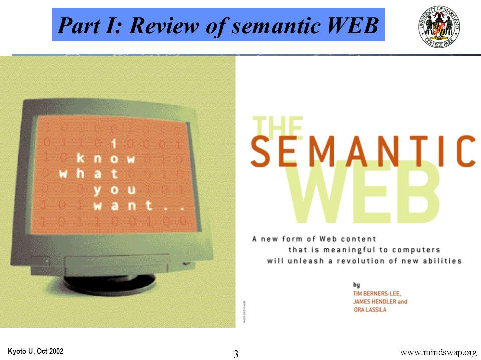 24 Kyoto U, Oct 2002 24 www.mindswap.org Value Proposition 2: Semantic Web Portals The MOSAIC of the Semantic Web.