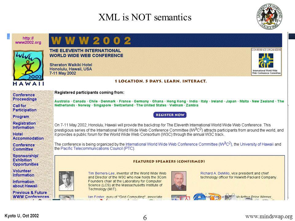 7 Kyoto U, Oct 2002 7 www.mindswap.org http://www.w3.org/~timbl Tim Berners-Lee … XML is NOT semantics
