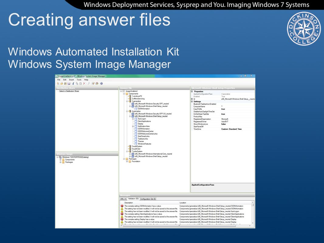Creating answer files Windows Automated Installation Kit Windows System Image Manager