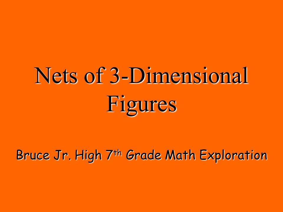 Nets of 3-Dimensional Figures Bruce Jr. High 7 th Grade Math Exploration