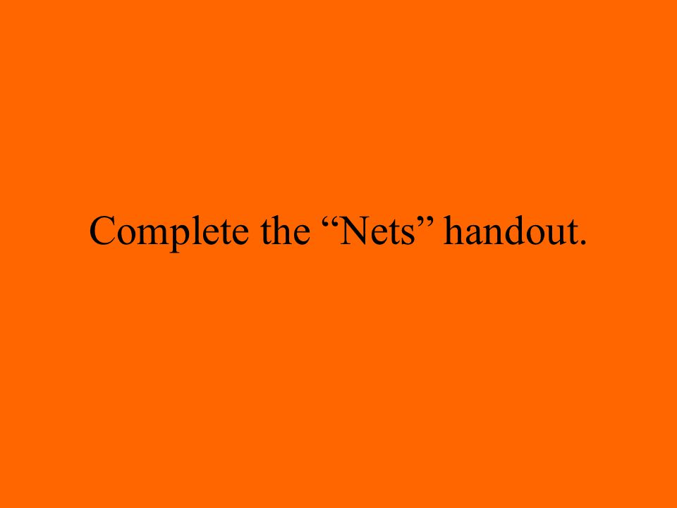 Complete the Nets handout.