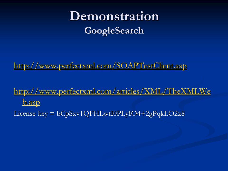 Demonstration GoogleSearch http://www.perfectxml.com/SOAPTestClient.asp http://www.perfectxml.com/articles/XML/TheXMLWe b.asp http://www.perfectxml.com/articles/XML/TheXMLWe b.asp License key = bCpSxv1QFHLwtI0PLyIO4+2gPqkLO2z8