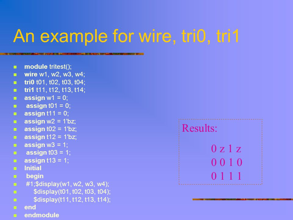 An example for wire, tri0, tri1 module tritest(); wire w1, w2, w3, w4; tri0 t01, t02, t03, t04; tri1 t11, t12, t13, t14; assign w1 = 0; assign t01 = 0; assign t11 = 0; assign w2 = 1 bz; assign t02 = 1 bz; assign t12 = 1 bz; assign w3 = 1; assign t03 = 1; assign t13 = 1; Initial begin #1;$display(w1, w2, w3, w4); $display(t01, t02, t03, t04); $display(t11, t12, t13, t14); end endmodule Results: 0 z 1 z 0 0 1 0 0 1 1 1