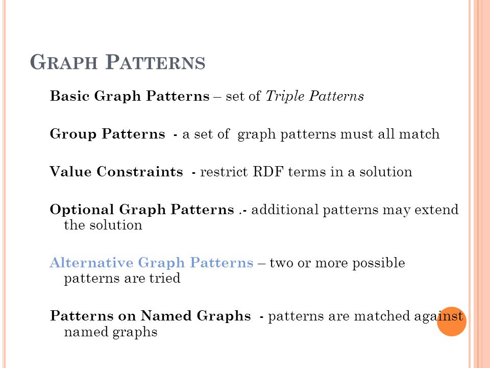 G RAPH P ATTERNS Basic Graph Patterns – set of Triple Patterns Group Patterns - a set of graph patterns must all match Value Constraints - restrict RDF terms in a solution Optional Graph Patterns.- additional patterns may extend the solution Alternative Graph Patterns – two or more possible patterns are tried Patterns on Named Graphs - patterns are matched against named graphs