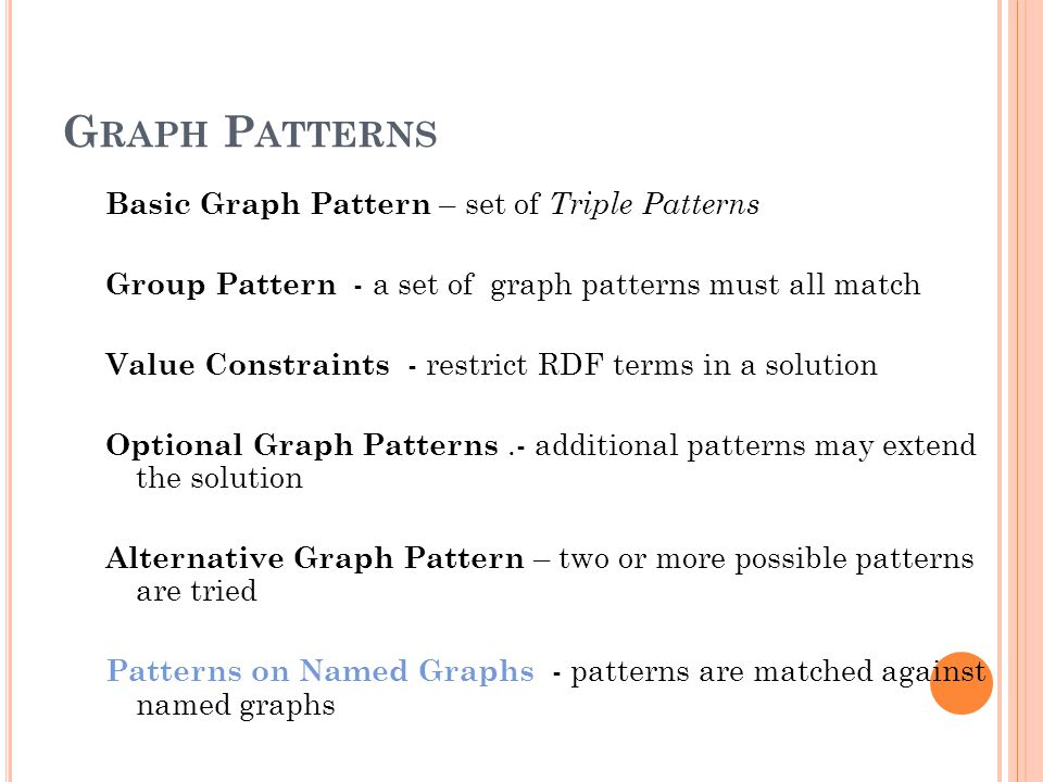 G RAPH P ATTERNS Basic Graph Pattern – set of Triple Patterns Group Pattern - a set of graph patterns must all match Value Constraints - restrict RDF terms in a solution Optional Graph Patterns.- additional patterns may extend the solution Alternative Graph Pattern – two or more possible patterns are tried Patterns on Named Graphs - patterns are matched against named graphs