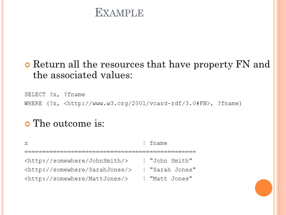 G ROUP P ATTERN PREFIX foaf: SELECT ?name ?mbox WHERE { ?x foaf:name ?name.