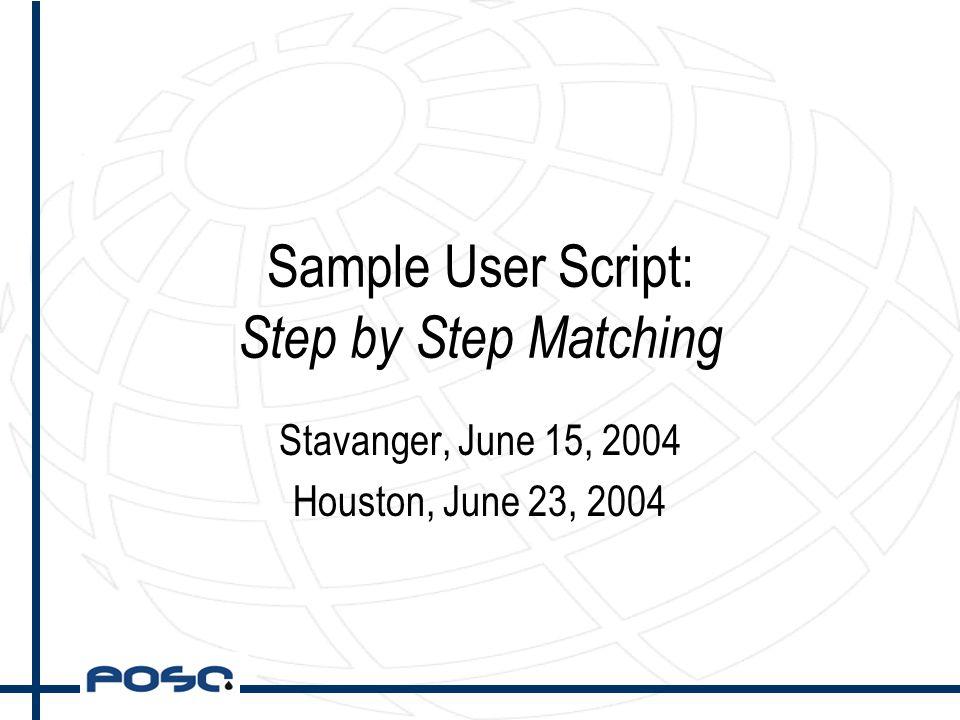 Sample User Script: Step by Step Matching Stavanger, June 15, 2004 Houston, June 23, 2004
