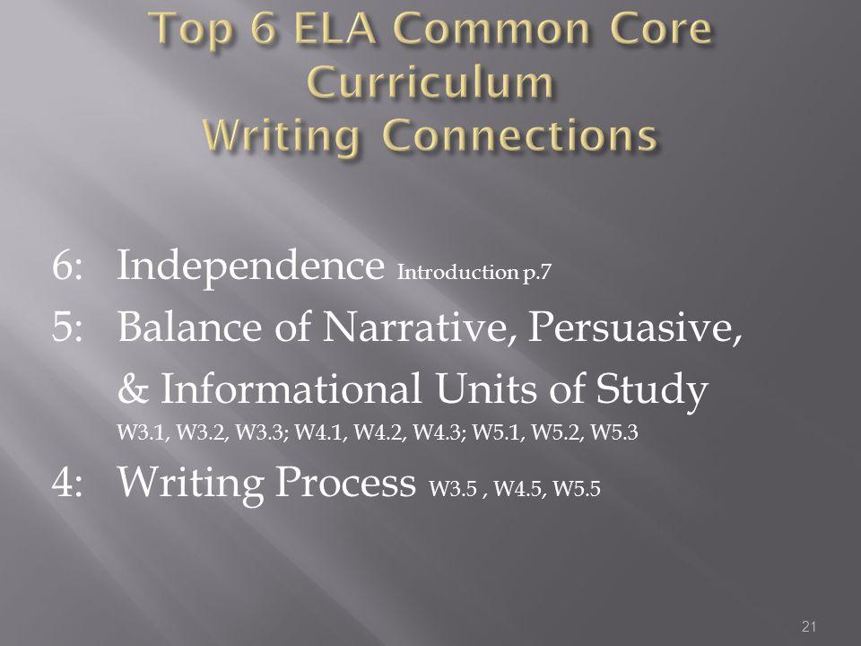6: Independence Introduction p.7 5: Balance of Narrative, Persuasive, & Informational Units of Study W3.1, W3.2, W3.3; W4.1, W4.2, W4.3; W5.1, W5.2, W