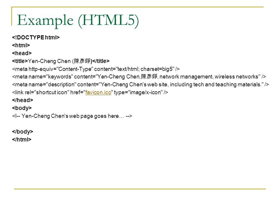 Example (HTML5) Yen-Cheng Chen ( 陳彥錚 ) favicon.ico