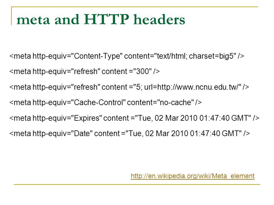 meta and HTTP headers http://en.wikipedia.org/wiki/Meta_element