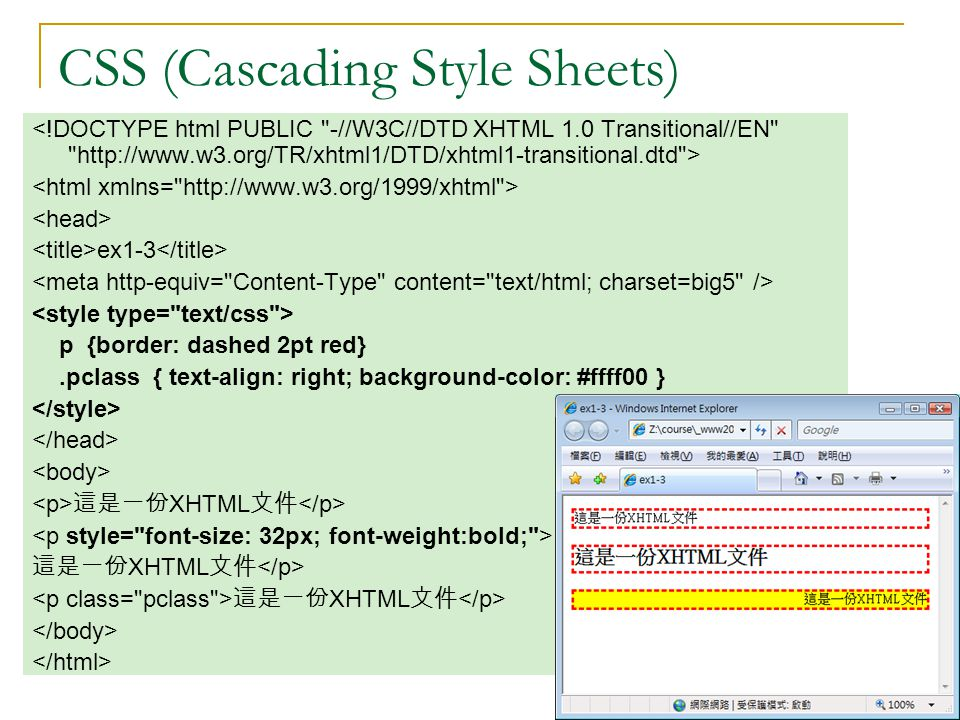 CSS (Cascading Style Sheets) ex1-3 p {border: dashed 2pt red}.pclass { text-align: right; background-color: #ffff00 } 這是一份 XHTML 文件 這是一份 XHTML 文件