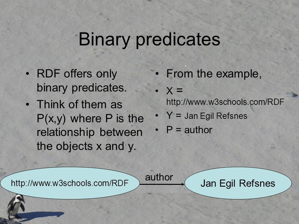 Binary predicates RDF offers only binary predicates.