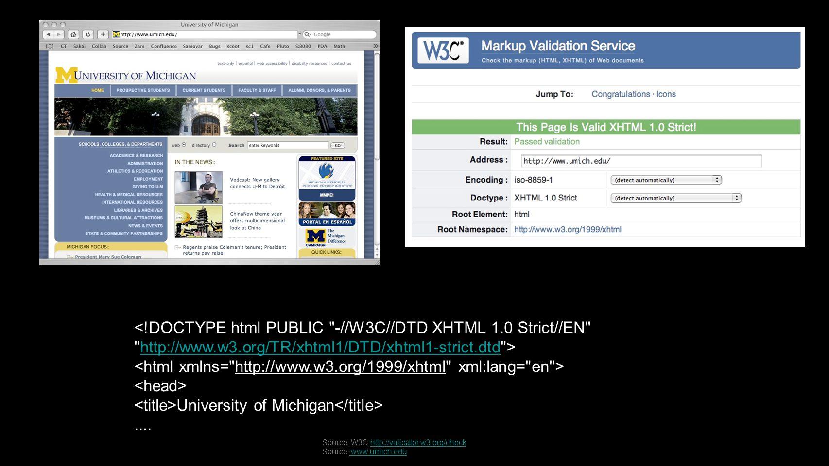 http://www.w3.org/TR/xhtml1/DTD/xhtml1-strict.dtd University of Michigan....