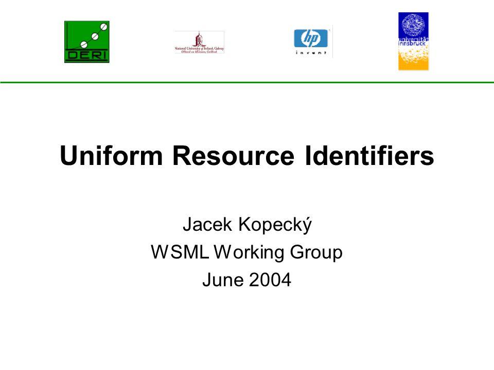 Uniform Resource Identifiers Jacek Kopecký WSML Working Group June 2004