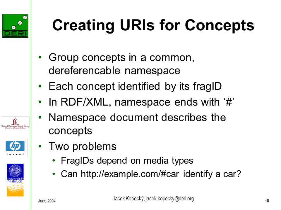 June 200418 Jacek Kopecký, jacek.kopecky@deri.org Creating URIs for Concepts Group concepts in a common, dereferencable namespace Each concept identified by its fragID In RDF/XML, namespace ends with '#' Namespace document describes the concepts Two problems FragIDs depend on media types Can http://example.com/#car identify a car?