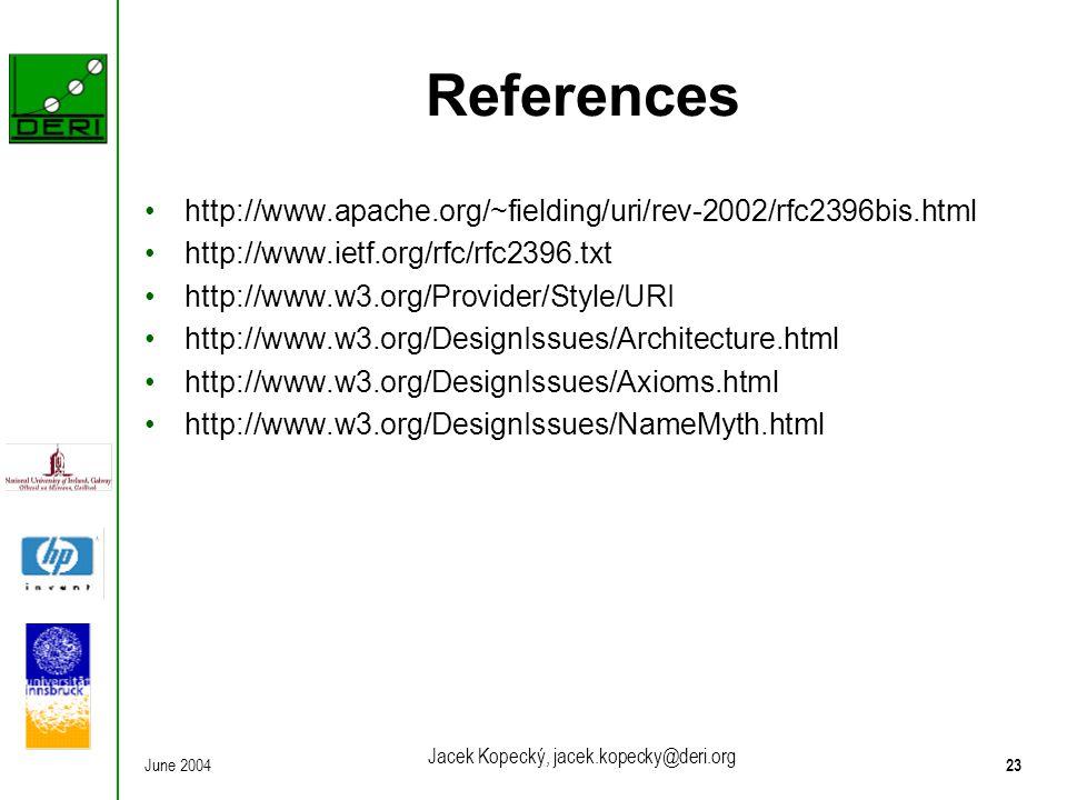 June 200423 Jacek Kopecký, jacek.kopecky@deri.org References http://www.apache.org/~fielding/uri/rev-2002/rfc2396bis.html http://www.ietf.org/rfc/rfc2396.txt http://www.w3.org/Provider/Style/URI http://www.w3.org/DesignIssues/Architecture.html http://www.w3.org/DesignIssues/Axioms.html http://www.w3.org/DesignIssues/NameMyth.html