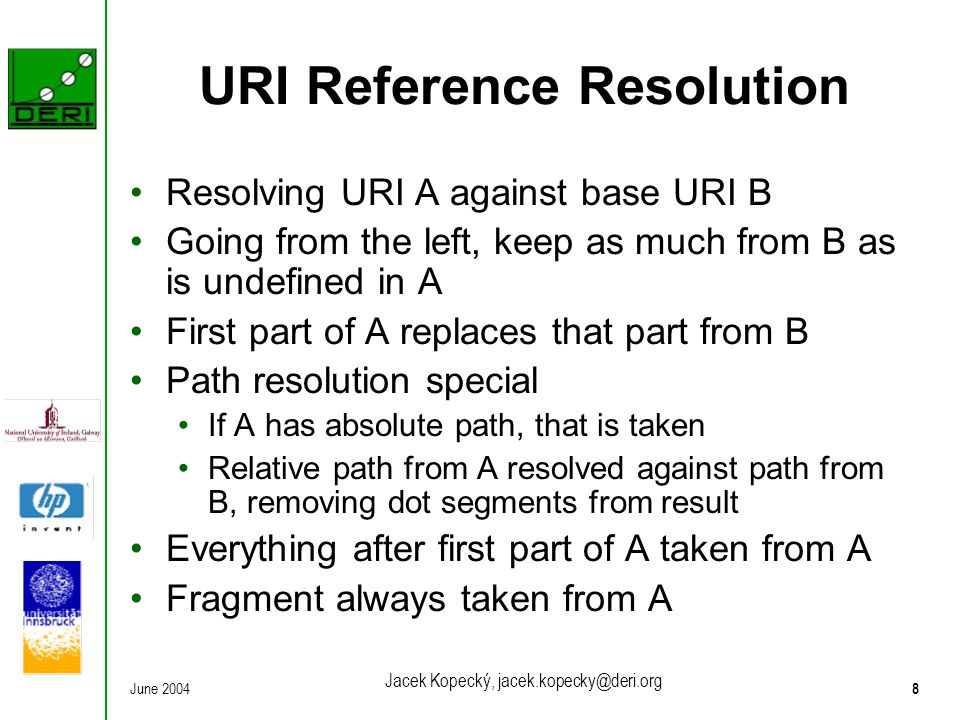 June 20048 Jacek Kopecký, jacek.kopecky@deri.org URI Reference Resolution Resolving URI A against base URI B Going from the left, keep as much from B as is undefined in A First part of A replaces that part from B Path resolution special If A has absolute path, that is taken Relative path from A resolved against path from B, removing dot segments from result Everything after first part of A taken from A Fragment always taken from A