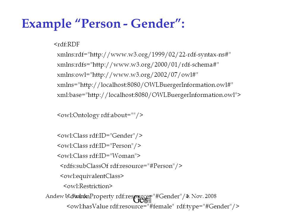 "4. Nov. 2008Andew U. Frank Example ""Person - Gender"": <rdf:RDF xmlns:rdf="