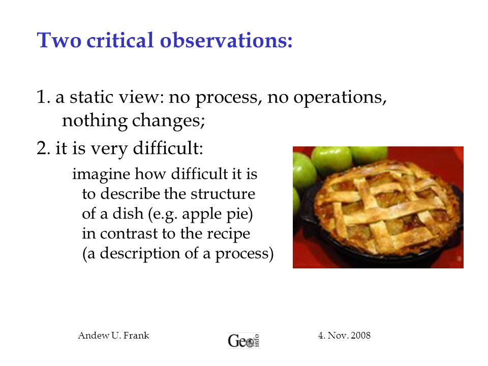 4. Nov. 2008Andew U. Frank Two critical observations: 1. a static view: no process, no operations, nothing changes; 2. it is very difficult: imagine h
