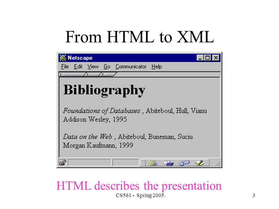CS561 - Spring 2005.44 XQuery Find books whose price is larger than average: LET $a=avg( document( bib.xml ) /bib/book/@price) FOR $b in document( bib.xml ) /bib/book WHERE $b/@price > $a RETURN $b LET $a=avg( document( bib.xml ) /bib/book/@price) FOR $b in document( bib.xml ) /bib/book WHERE $b/@price > $a RETURN $b