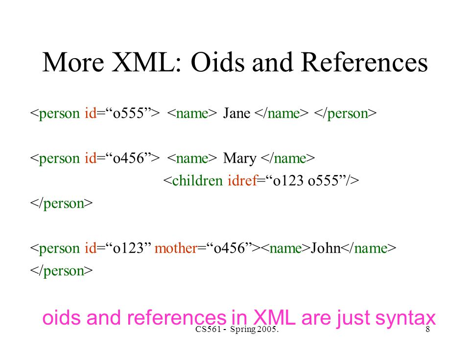 CS561 - Spring 2005.29 XPath- child axis navigation –/ doc -- all the doc children of the root –./ aaa -- all the aaa children of the context node (equivalent to aaa ) –text() -- all the text children of the context node –node() -- all the children of the context node (includes text and attribute nodes) –..