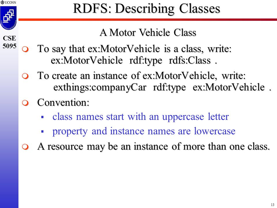 13 CSE 5095 RDFS: Describing Classes  To say that ex:MotorVehicle is a class, write: ex:MotorVehicle rdf:type rdfs:Class.