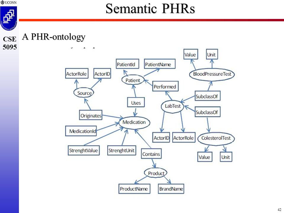 42 CSE 5095 Semantic PHRs A PHR-ontology