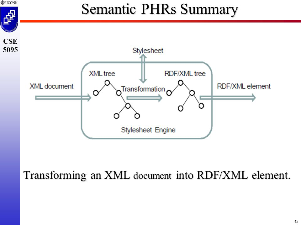 45 CSE 5095 Semantic PHRs Summary Transforming an XML document into RDF/XML element.