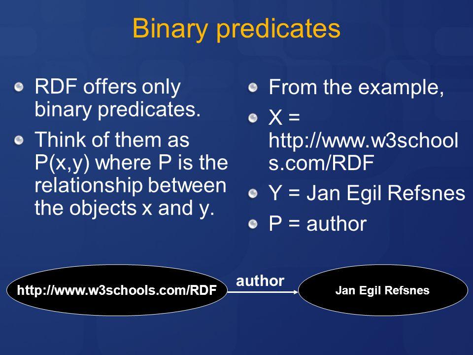 Binary predicates RDF offers only binary predicates.