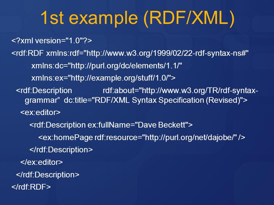 1st example (RDF/XML) <rdf:RDF xmlns:rdf= http://www.w3.org/1999/02/22-rdf-syntax-ns# xmlns:dc= http://purl.org/dc/elements/1.1/ xmlns:ex= http://example.org/stuff/1.0/ >