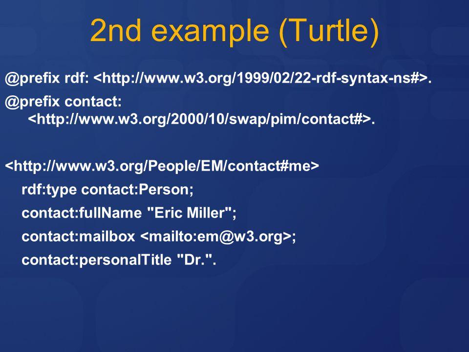 2nd example (Turtle) @prefix rdf:.@prefix contact:.