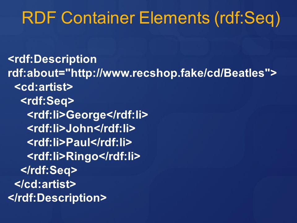 RDF Container Elements (rdf:Seq) <rdf:Description rdf:about= http://www.recshop.fake/cd/Beatles > George John Paul Ringo