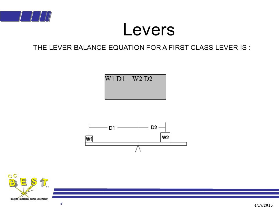 4/17/2015 8 Levers W1 D1 = W2 D2 THE LEVER BALANCE EQUATION FOR A FIRST CLASS LEVER IS :