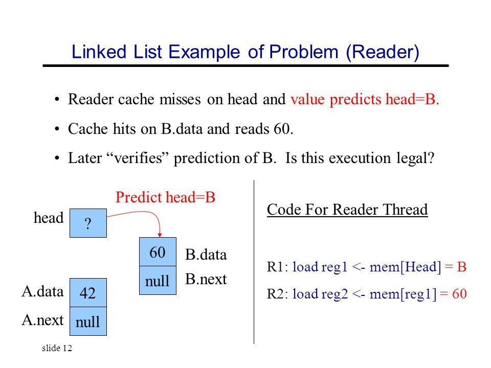 slide 12 Linked List Example of Problem (Reader) head .