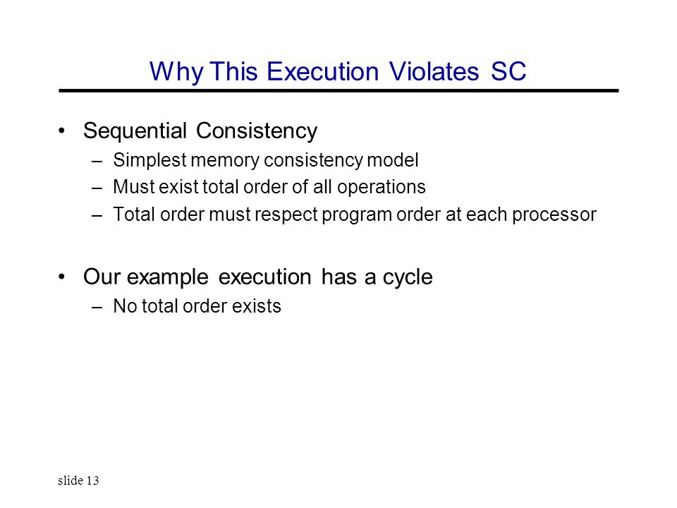 slide 13 Why This Execution Violates SC Sequential Consistency –Simplest memory consistency model –Must exist total order of all operations –Total ord