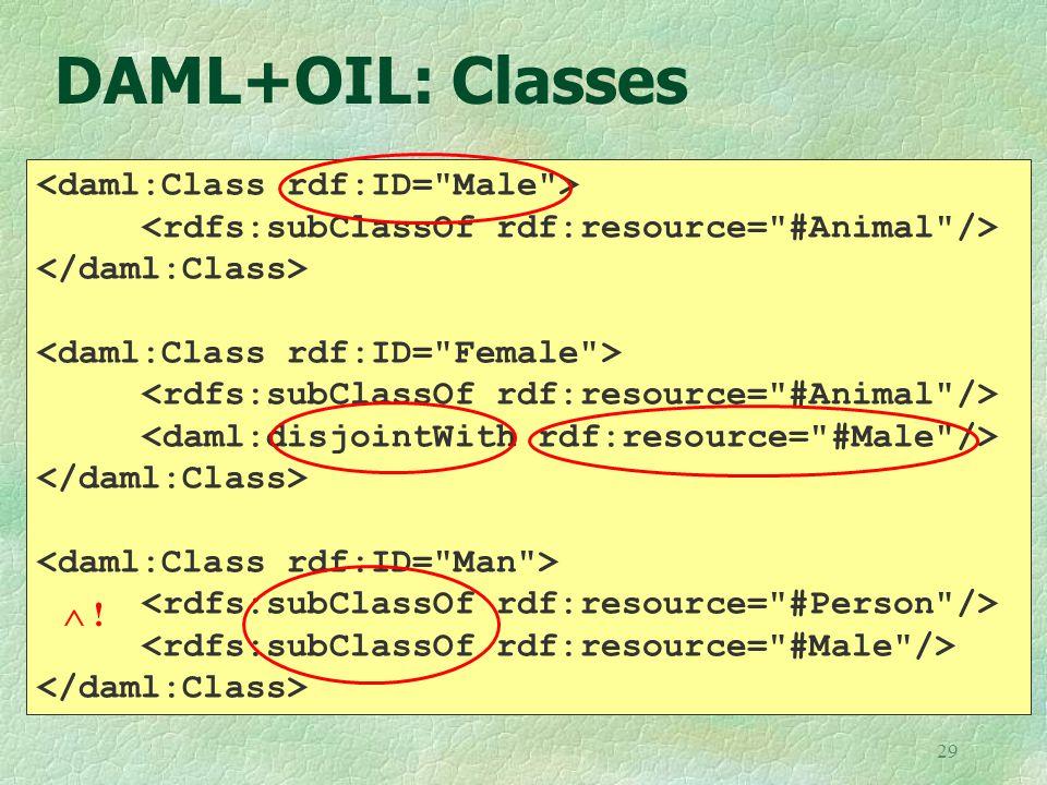 29 DAML+OIL: Classes  !