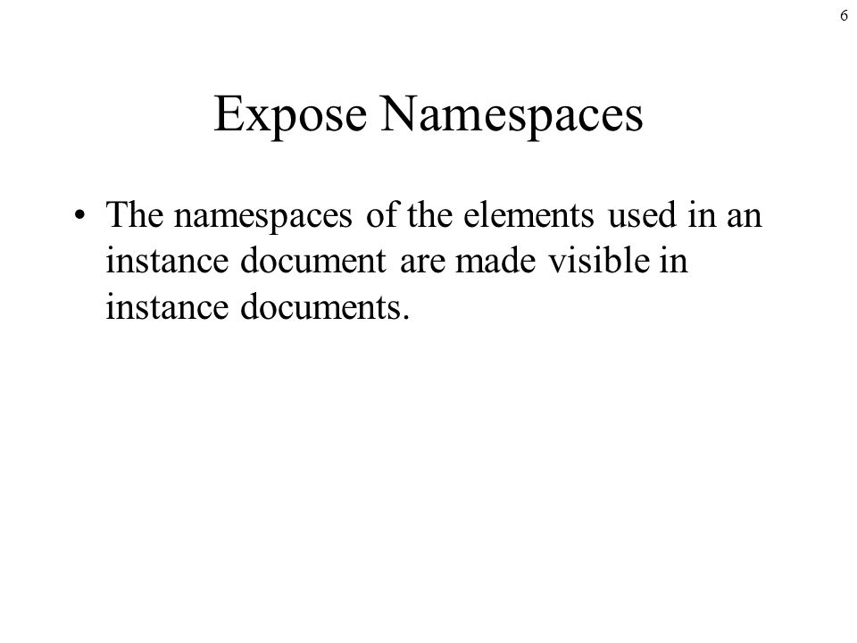 6 Expose Namespaces The namespaces of the elements used in an instance document are made visible in instance documents.